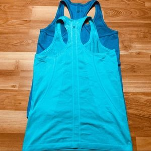 Lululemon Set of Two Blue Swiftly Racerback Tanks